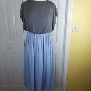 NWT Loft blue and gray open back dress